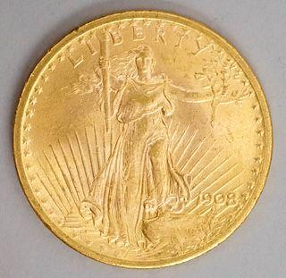 1908 American $20 Dollar Gold Coin