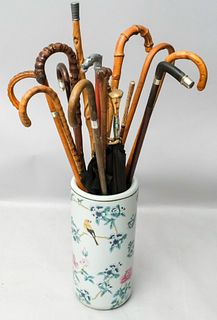 Collection of Antique Canes and Umbrellas in Stand