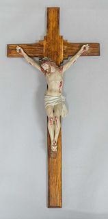 Antique Plaster Polychrome Jesus on Oak Cross