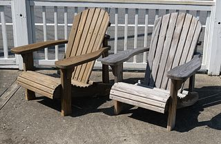 Pair of Outdoor Wooden Lounge Chairs
