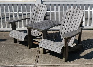 Solid Wood Double Adirondack Chair with Table.