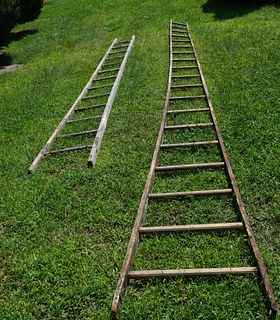 Lot of Two antique Wooden Orchard Ladders