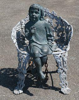 Bronze Sculpture of Garden Girl in Cast Iron Chair