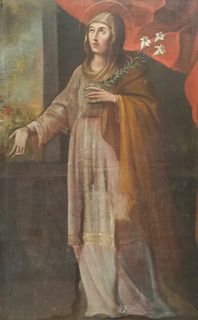Cuzco School, Mary With White Lilies