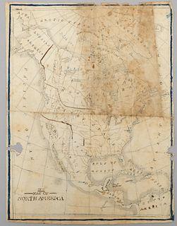 C.1830's Hand Drawn Map of North America