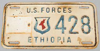 Ethiopia U.S. Forces Vehicle License Plate