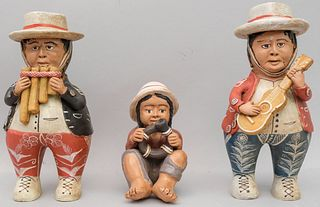 Clay Figures of a Trio Andean Native Musicians