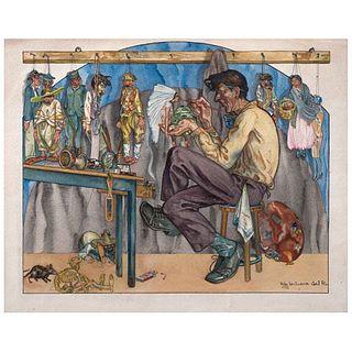 ROBERTO CUEVA DEL RÍO, Sin título, Firmada y fechada 1927, Acuarela sobre papel, 36 x 45.5 cm | ROBERTO CUEVA DEL RÍO, Untitled, Signed and dated 1927