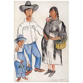 LUIS GARCÍA GUERRERO, Familia campesina, Firmada y fechada 1951, Acuarela sobre papel, 34 x 24 cm | LUIS GARCÍA GUERRERO, Familia campesina, Signed an