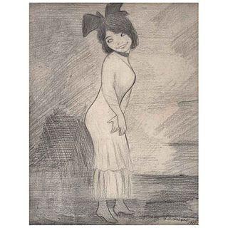 JOSÉ CLEMENTE OROZCO, Niña con moño, Firmado y fechado 1919, Lápiz de grafito sobre papel, 32.5 x 25 cm, Con constancia | JOSÉ CLEMENTE OROZCO, Niña c