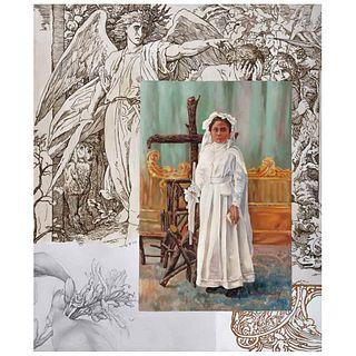 ESTEBAN AZAMAR, Fin de siglo, Firmado, Óleo sobre tela, 120 x 100 cm, Con constancia | ESTEBAN AZAMAR, Fin de siglo, Signed, Oil on canvas, 47.2 x 39.