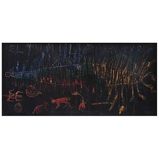 SERGIO HERNÁNDEZ, El Trujillo, 1991, Sin firma, Cera sobre papel amate sobre tela, 56.5 x 115.5 cm, Con constancia | SERGIO HERNÁNDEZ, El Trujillo, 19