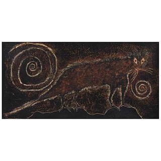 SERGIO HERNÁNDEZ, Oso hormiguero, 1991, Sin firma Cera sobre amate sobre tela, 58 x 117 cm, Con constancia | SERGIO HERNÁNDEZ, Oso hormiguero, 1991, U