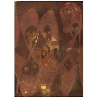 FRANCISCO TOLEDO, Sin título, Firmado al reverso, Óleo y arena sobre tela, 110 x 80 cm