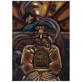 BENITO ZAMORA, Sin título, Firmada y fechada 1991 mayo, Mixta sobre papel, 68 x 48.5 cm   BENITO ZAMORA, Untitled, Signed and dated 1991 mayo, Mixed t