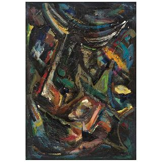 JOSÉ CUTBERTO GALVÁN, Sin título, 1957, Firmada, Mixta sobre tela, 72 x 51 cm, Con certificado   JOSÉ CUTBERTO GALVÁN, Untitled, 1957, Signed, Mixed t