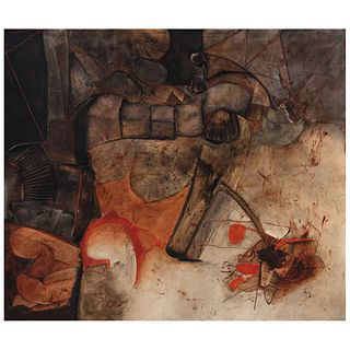 MANUEL FELGUÉREZ, Palabra y silencio, Firmada y fechada 88, Mixta sobre tela, 115 x 135 cm,   MANUEL FELGUÉREZ, Palabra y silencio, Signed and dated 8