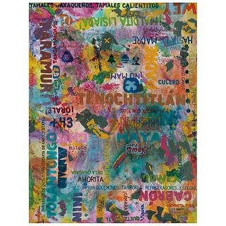 HELIO VIANNA, México III, de la serie Soft power, Firmado y fechado 2019 al reverso, Mixta sobre tela, 130 x 100 cm, Con certificado   HELIO VIANNA, M