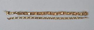 Two 14K Gold Heart Bracelets
