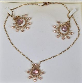 Halina Fuchs Gold Filled Necklace & Earring Suite