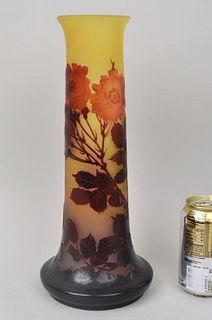 Signed Galle Cylindrical Vase w/ Wild Roses