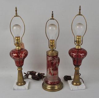 Three Ruby Cut to Clear Lamps