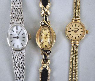 Three 14K Gold Ladies Watches