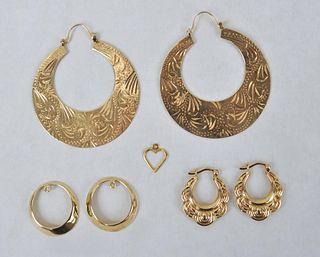 Three 14K Gold Pairs of Earrings
