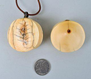 Two Antique African Ivory Turkana Lip Plugs