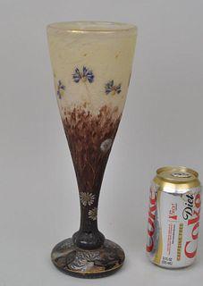 Fine Daum Art Glass Vase, Bleuets et Pissenlit