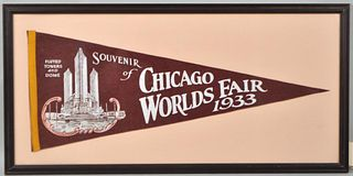 Framed Chicago World's Fair Pennant