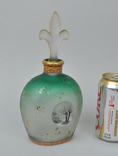 Fine Signed Daum Nancy Green Glass/Gilt Bottle