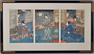 Framed Japanese Tryptich Woodblock Print