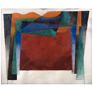 CARLOS MÉRIDA, Escenografía profecía, Firmada y fechada 1979, Mixta sobre papel, 39 x 47 cm, Con certificado, PRECIO DE RECUPERACIÓN   CARLOS MÉRIDA,
