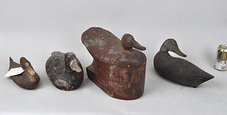 Group of Four Antique Folk Art Duck Decoys
