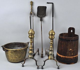 Antique Brass Fireplace Group