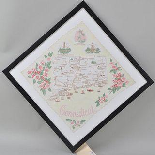 Framed Handkerchief Map of CT