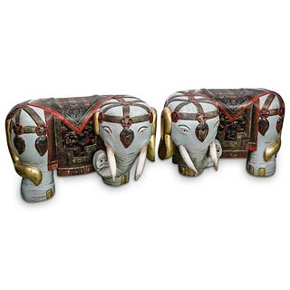 Antique Chinese Lacquered Wood Elephant Stools