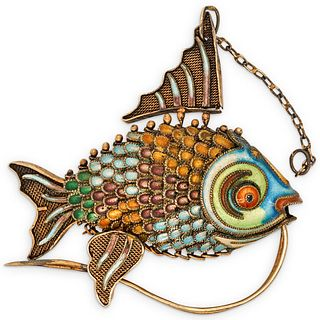 Chinese Silver and Enamel Fish Pendant
