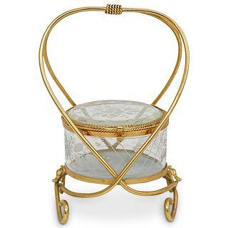 Antique French Glass & Bronze Casket Jewelry Box