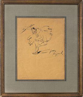 """Louis Legrand """"Study of a Ballet Dancer"""" Ink"""