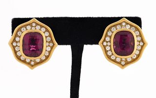 Angela Cummings 18K Gold Rubelite Diamond Earrings