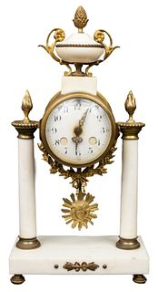 Louis XVI Manner French Marble Portico Clock