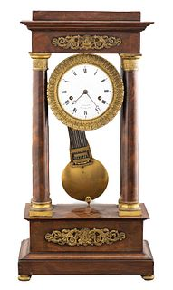 Hunziker French Empire Mahogany Portico Clock
