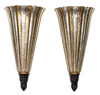 Art Deco Mixed Metal Conical Plume Sconces