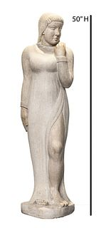 'Kahan' Signed Carved Stone Woman Sculpture