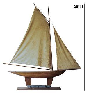 Large Antique Pine Model of a Pond Boat