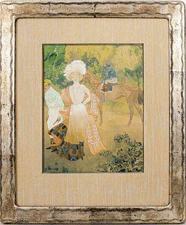 """Georges de Feure """"Longchamps"""" Gouache, 1905"""