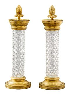 French Empire Style Ormolu & Crystal Candleholders