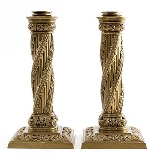 English Victorian Gothic Bronze Candleholders